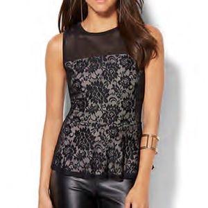 NY&Co Black Lace Peplum Top